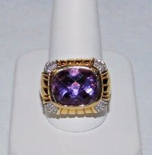 STERLING SILVER VERMEIL 8 CT AMETHYST RING. SIZE 9.75