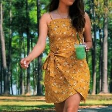 STRAPPY YELLOW FLORAL BELTED BACKLESS WRAP SIDE WAIST MINI SLIP SEXY DRESS 6 XS