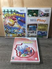 Nintendo Wii 3 Game Lot - Fling Smash, Wii Play, Family Think Smart - Tested