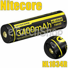 NiteCore 1x NL1834R 3400mAh Protected 3.7v 18650 USB Rechargeable Li-ion Battery