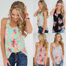 Womens Floral Ladies Holiday Sleeveless Racer Vest Tee Blouse Cami T shirt Tops
