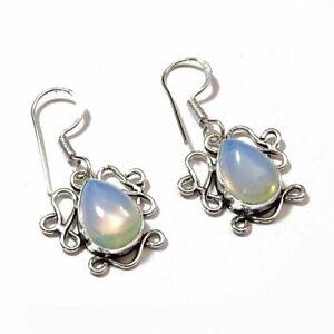 Milky Opal Gemstone Handmade Jewelry Earring HR8143