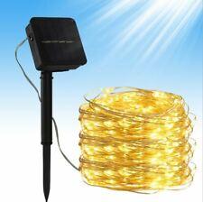 10M 100LEDs Solar Lichterkette Draht Weihnachten Party Garten Außenbeleuchtung
