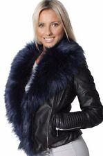 WOMENS Black Short BIKER JACKET DETACHABLE FAUX Leather FUR COLLAR12 14 16 18 20