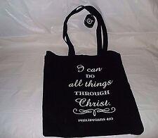 Philippians 4:13 Black & White Christian Fabric Medium Tote Bag NEW FREE SHIPPIN