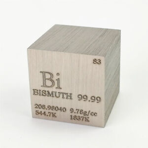Bismuth Metal Density Cube 25.4mm 99.99% 160g for Element Collection