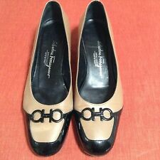 Beautiful Salvatore Ferragamo Ladies shoes pumps flats wedge Brown Black leather