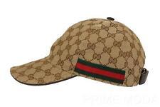 NEW GUCCI ORIGINAL GG GUCCISSIMA LOGO CANVAS  WEB DETAIL BASEBALL CAP HAT 56/XS