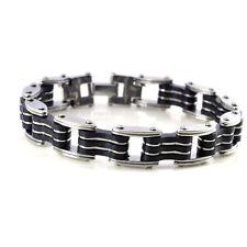 Punk Mens Women Stainless Steel Rubber Bracelet Bangle Wristband Cuff Chian Link