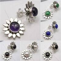 925 Sterling Silver FLOWER Stud Earrings ! ROUND Gemstones Fine Jewelry NEW