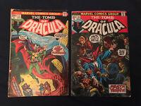 TOMB OF DRACULA lot of 2 KEY comics: #12 (2nd Blade) & #13 (Origin Blade) - G/VG