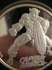 1-OZ 999  SILVER CARTOON CELEBRITIES MARVEL COMIC  CAPTIAN AMERICAN COIN+GOLD