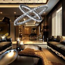 2/ 3 anelli lampadario Cristallo LED da soffitto sospensione luce del pendente