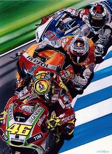 Valentino Rossi 122x91.5 cms original Moto GP oil painting by Colin Carter
