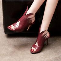 Womens Peep Toe Stilettos High Heels Mules Sandals Fashion Leather Shoes Slip on