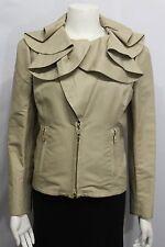 Valentino Women Beige Khaki Cotton Short Fashion Coat Jacket Wide Wavy Neck 10