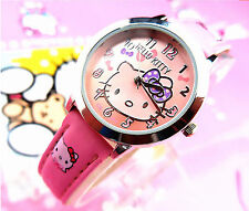Kids Girl Child Cute Pink Hello Kitty imitate leather Wrist Watch birthday Gift