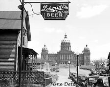 Schmidt's Beer Sign & State Capitol, Des Moines, Iowa 1940- Historic Photo Print