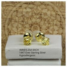 ROUND ASSCHER CUT CANARY YELLOW 14K GOLD 0.50CT PER PAIR SILVER CZ STUD EARRINGS