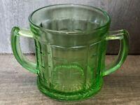 Vintage 1930s Hazel Atlas Depression Uranium Glass Colonial Block Sugar Bowl