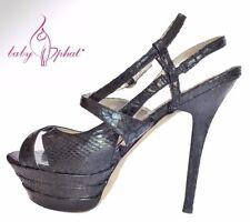 Baby Phat Platform Stiletto Sling Back Faux Snake Skin Heels in Black Size 9M