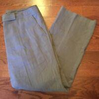 Eileen Fisher Women's Size 14 Linen Viscose Blend Wide Leg Brown Pants