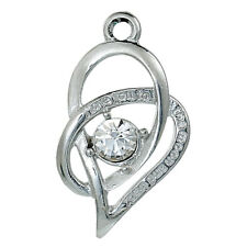 """Anhänger 2 Stück Herz Strass """"Love You to the moon and back"""" silber 26x15mm C78"""