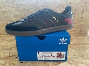 adidas Samba OG  Custom Negan Walking Dead Trainers Black and Red  Size 9 BNIB