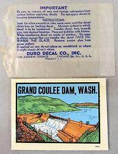 vintage GRAND COULEE DAM WASHINGTON water slide decal luggage car rat rod!