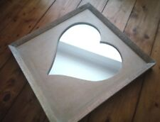New LARGE WOODEN HEART SQUARE MIRROR HAND CARVED SOLID MANGO WOOD 40cm Sass&Bell