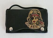 Rare Lucky Girl Purse/Wallet Upcycled Leather Pirate Girl Sailor Tattoo NWOT