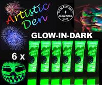6 x15ml UV NEON  GLOW IN THE DARK FACE & BODY PAINT 2 in 1 By  Artistic Den **