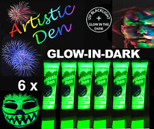 6 x15ml UV NEON  GLOW IN THE DARK FACE & BODY PAINT 2 in 1 By  Artistic Den **