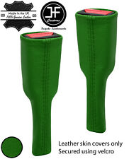GREEN REAL LEATHER 2X SEAT BELT STALK LONG COVERS FITS CORVETTE C6 2005-2013