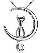 925 sterling silver Cat Love You on The Moon necklace with curb chain in box