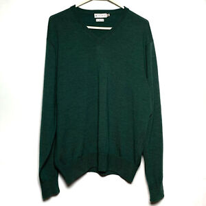 Peter Millar 100% Merino Wool V-Neck Sweater Green Men's Size M