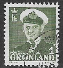 GREENLAND ISSUE - USED DEFINITIVE STAMP 1950, KING FREDERICK 1X ISSUE 1ore