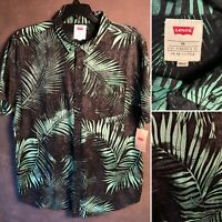 Levi's Shirt Mens Size 2XL Black Tropical Fern Slim Fit Button Down XXL New a20