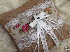 Personalised Vintage Wedding Ring Cushion Hessian Shabby Chic
