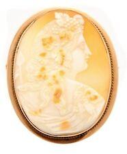 Antique 10k Gold Demeter Goddess of Harvest Portrait Cameo Brooch 11.35 grams