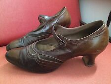 antique Vintage 1920s 30s Brown leather Gainsborough Shoes Flapper Mary Jane Old