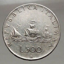 1961 Italy Christopher Columbus Ships Queen Isabella of Spain Silver Coin i56723