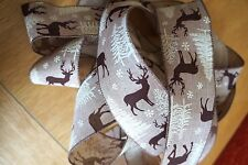 1m Wire Edged Christmas Ribbon. Beige With Xmas Tree & Reindeer / Stag Design