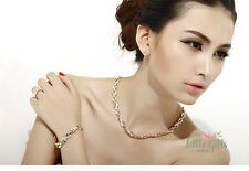 Luxury Gold Filled Plated Swarovski Elements Wheat Design Bridal Necklace Set