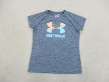 Under Armour Shirt Youth Large Blue Orange Logo Lightweight Kids Girls
