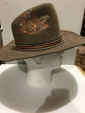Vintage Suede Western Style Cowboy Hat With Stitching. Nice!