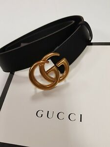 Gucci Signature Leather Belt  Size 80 / 32  Black