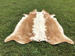 Large Cowhide Rugs Brown Leather Natural Hair on Cow Hide Skin Area Rug 5 x 6 ft