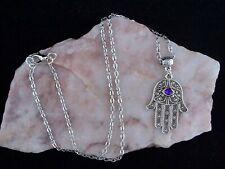 Hamsa Hand With All Seeing Purple Eye Lucky Amulet Chain Necklace.Handmade