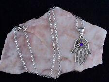 Hamsa Ojo mano con todos Ver púrpura Suerte Amuleto Cadena Collar. hecho a mano